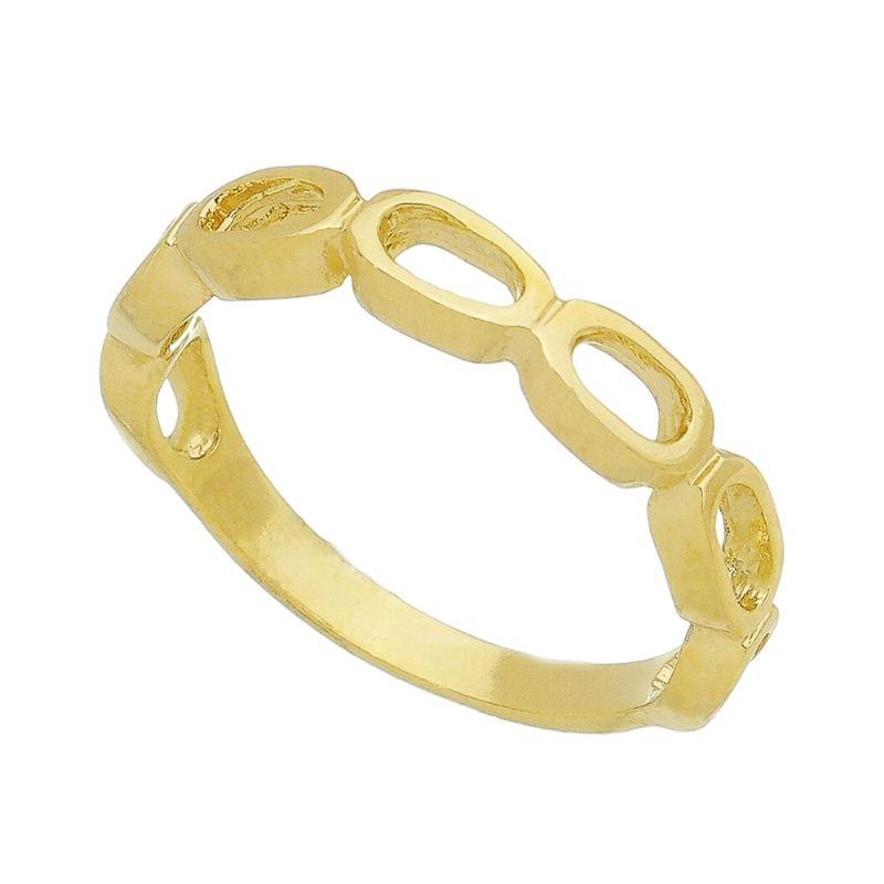 Anel Vazado Oval Liso Folheado em Ouro 18k