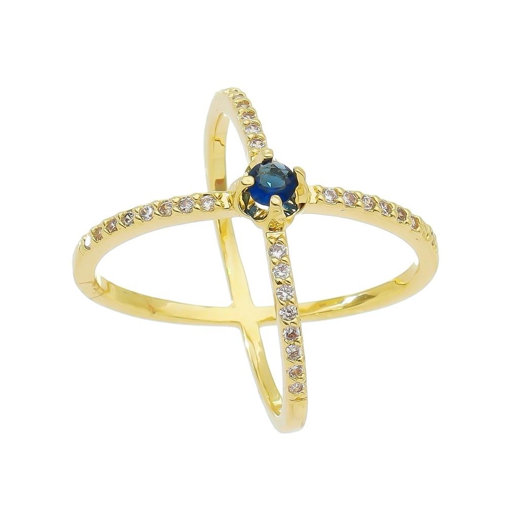 Anel X Aro C/ Zircônia e Ponto de Luz Azul Alcor - Banho Ouro 18k