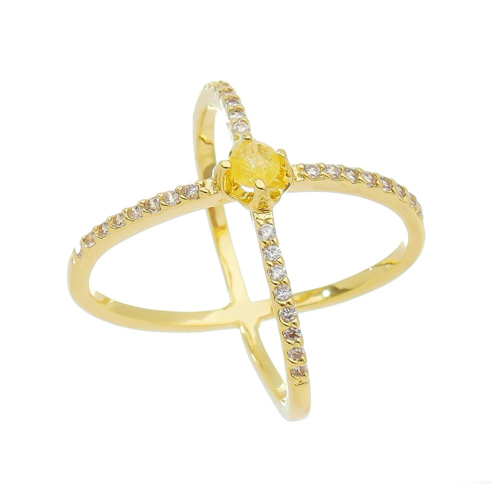 Anel X Aro com Pedra Zircônia e Ponto de Luz Amarelo Ouro 18k