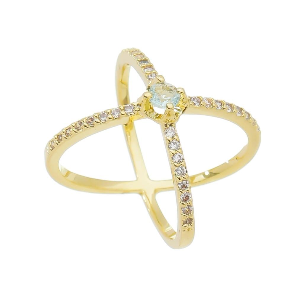 Anel X Aro com Pedra Zircônia e Ponto de Luz Banho Ouro 18k - Giro Semijoias