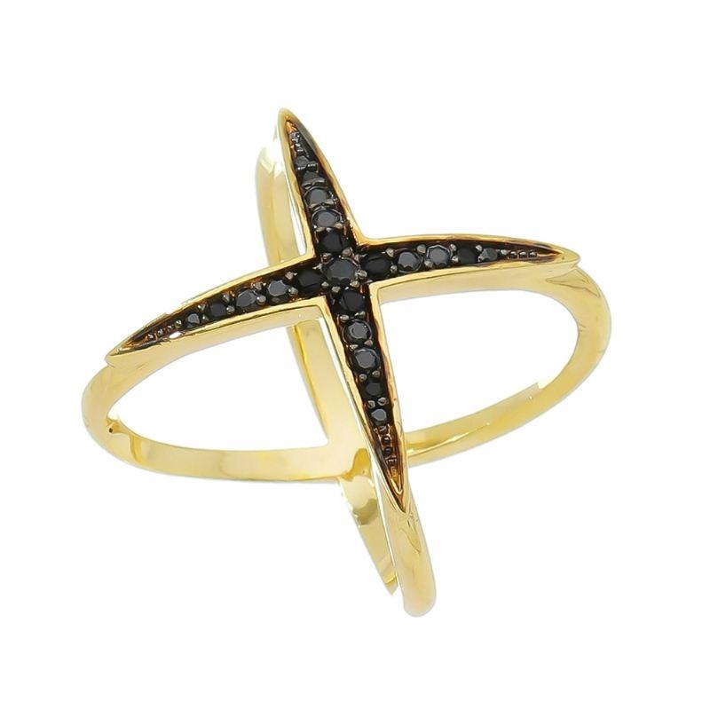 Anel X Cravejado com Pedra Zircônia Negra Folheado em Ouro 18k