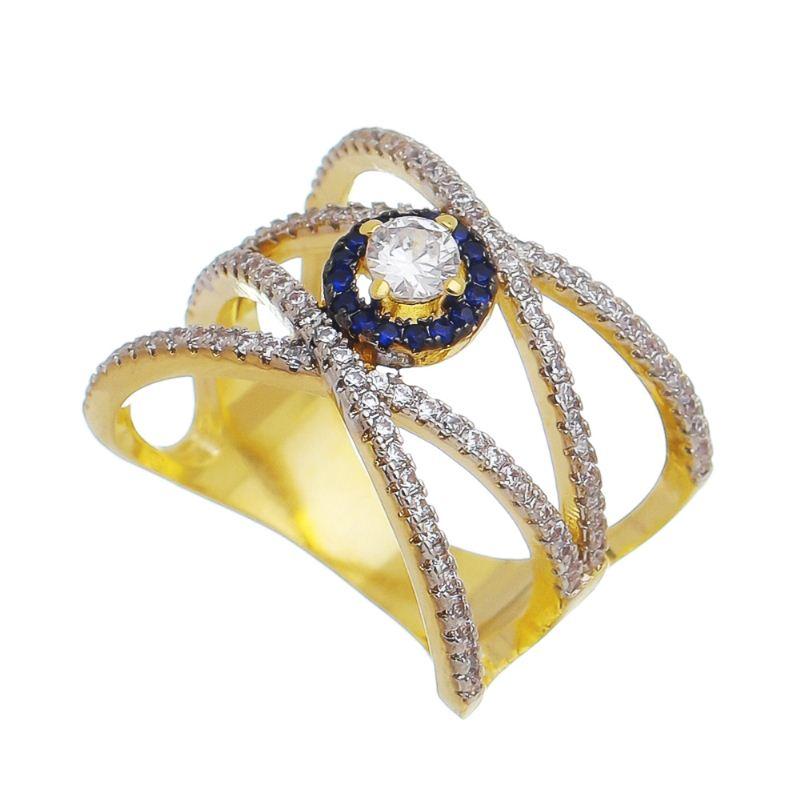 Anel X com Pedra e Cravejado em Zircônias Folheado em Ouro 18k - Giro Semijoias