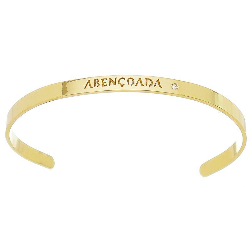 Bracelete Abençoada com Ponto de Luz em Zircônia Folheado em Ouro 18k