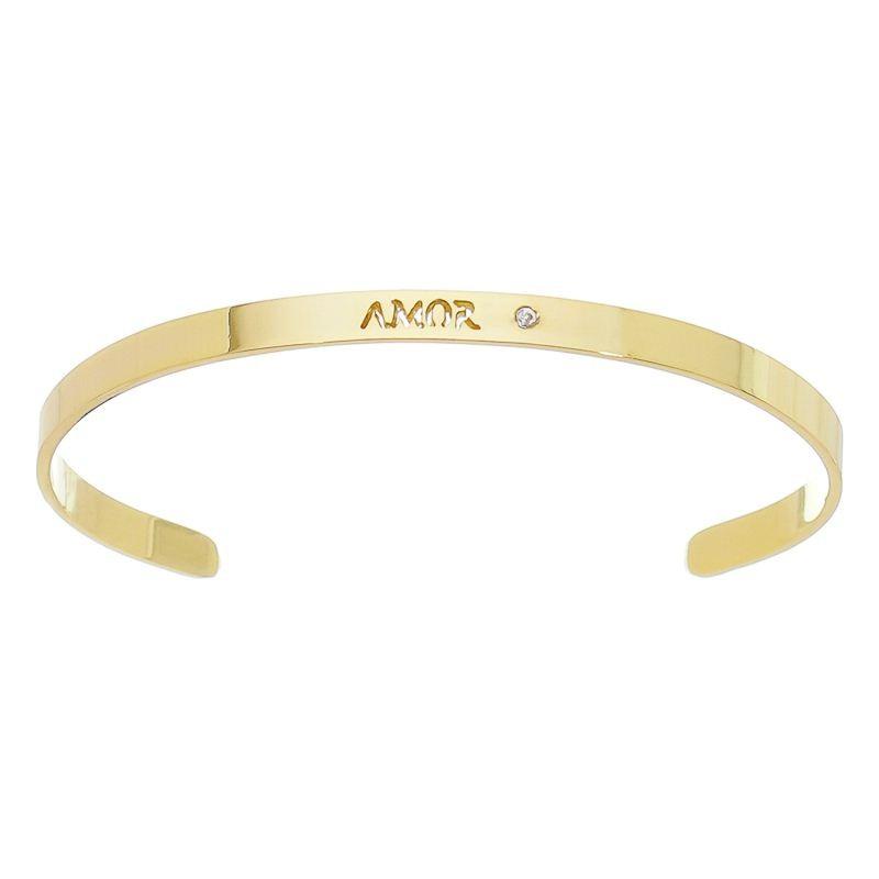 Bracelete Amor com Ponto de Luz em Zircônia Folheado em Ouro 18k - Giro Semijoias