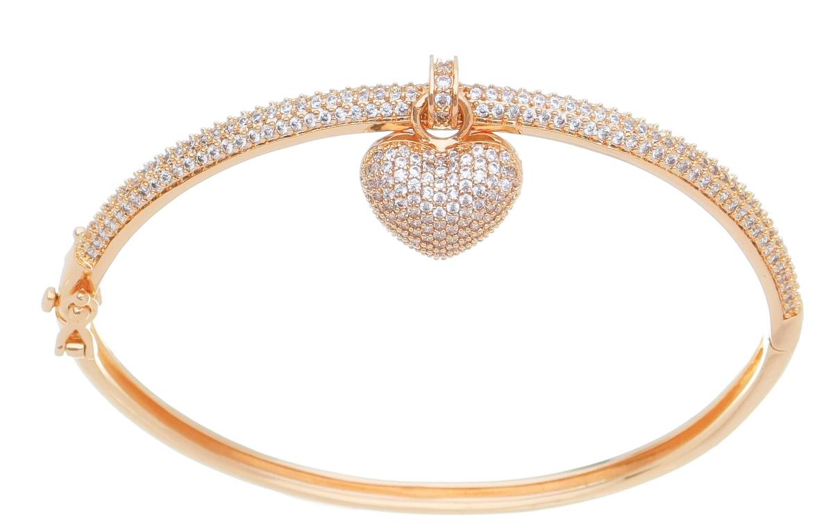Bracelete com Pingente Coração Cravejado em Zircônia Folheado em Ouro18k