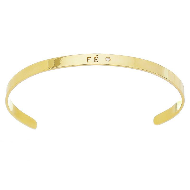 Bracelete Fé com Ponto de Luz em Zircônia Folheado em Ouro 18k