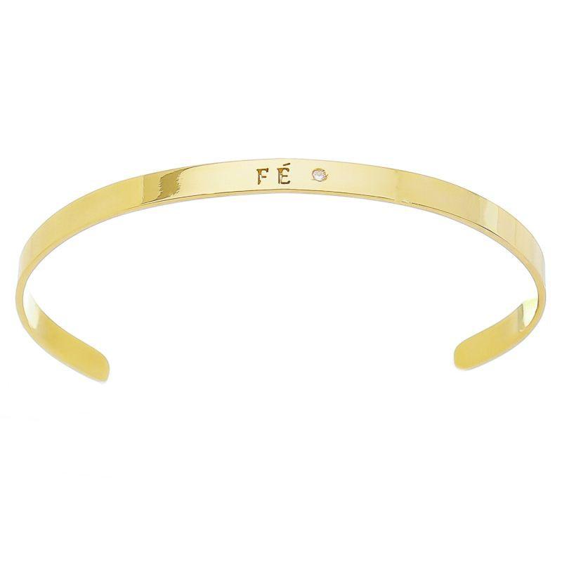 Bracelete Fé com Zircônia Folheado com Ouro 18k - Giro Semijoias