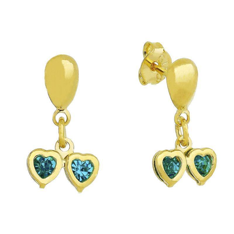Brinco 2 Corações com Pedra de Zircônia Azul Banho Ouro 18k - Giro Semijoias