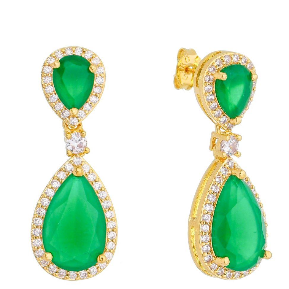 Brinco 2 Gotas Cristal Verde com Contorno em Zircônias Folheado em Ouro 18k