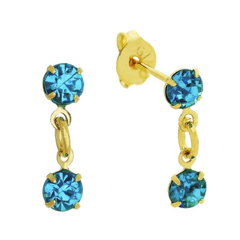 Brinco 2 Pontos de Luz em Zircônia Azul Folheado em Ouro 18k - Giro Semijoias