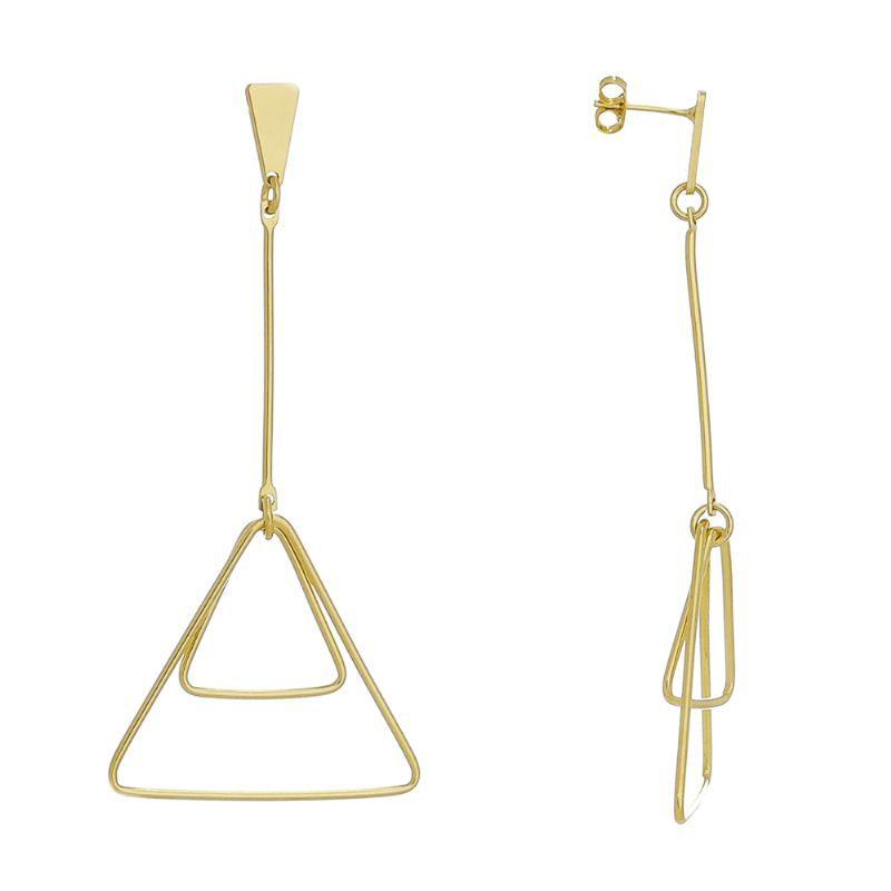 Brinco 2 Triângulos Pendulo Vazado Ouro 18k - Giro Semijoias