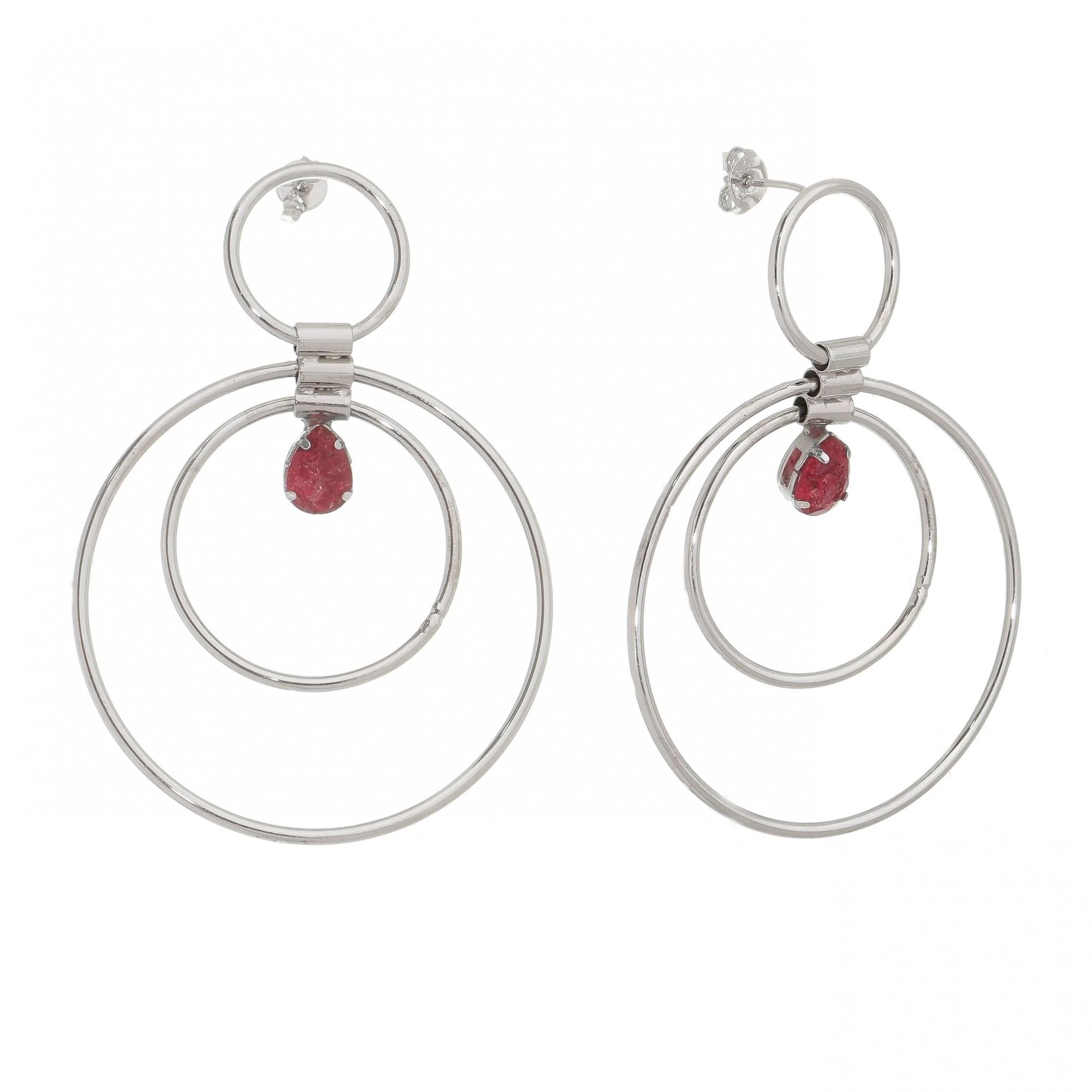 Brinco 3 Círculos e Gota Cristal Vermelho Ródio Branco - Giro Semijoias