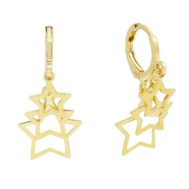 Brinco Argola C/ 3 Estrelas Vazadas Pendurado Ouro 18k