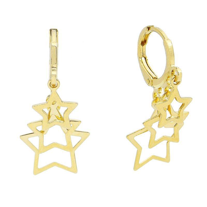 Brinco Argola C/ 3 Estrelas Vazadas Pendurado Ouro 18k- Giro Semijoias