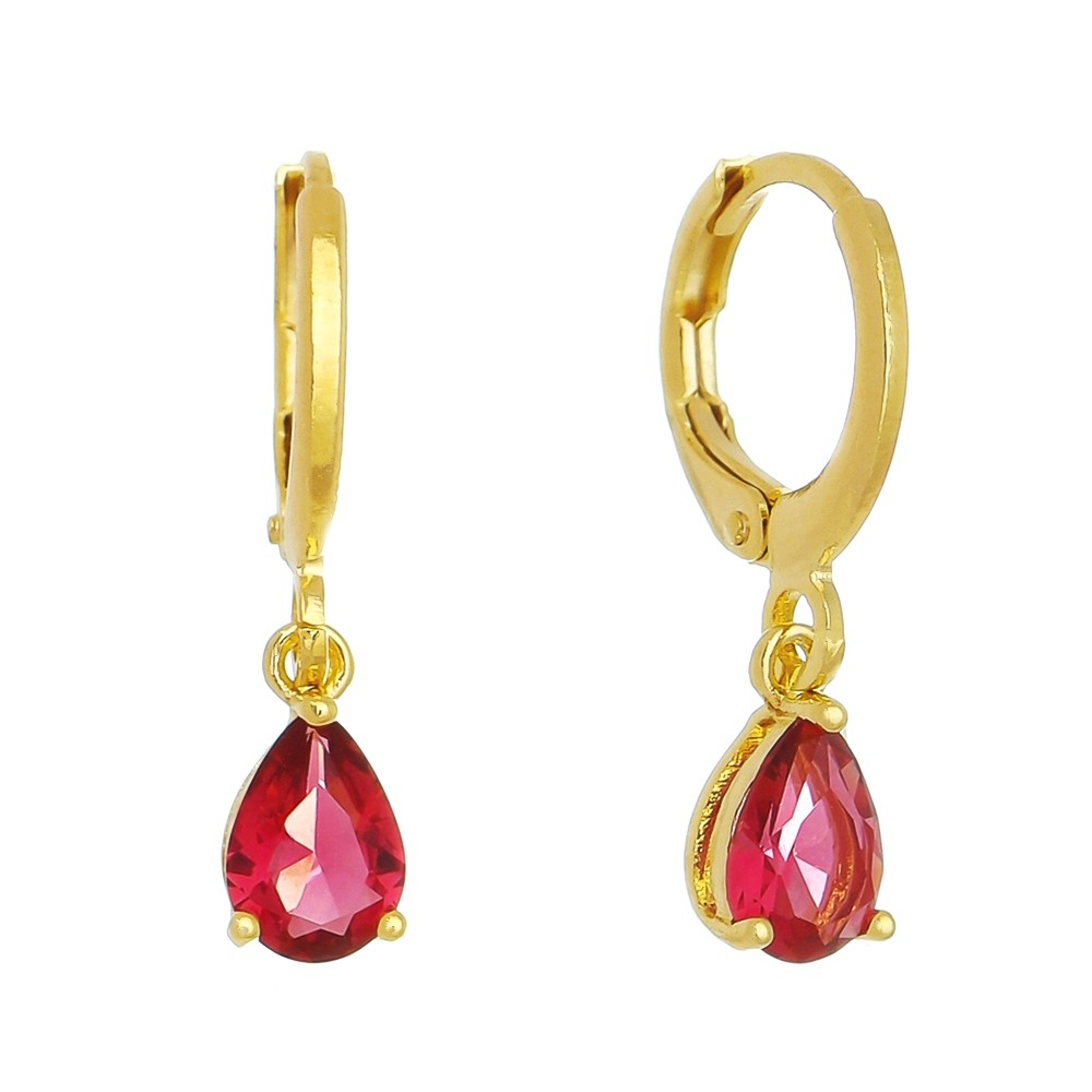 Brinco Argola C/ Gota Cristal Vermelho Matisse - Banho Ouro 18k