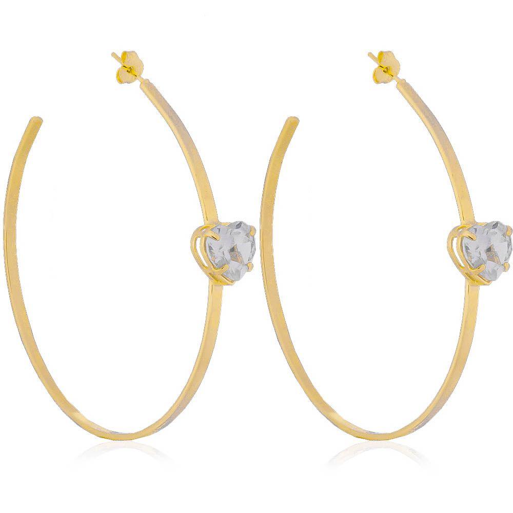 Brinco Argola com Coração Cristal Incolor Ouro 18k - Giro Semijoias