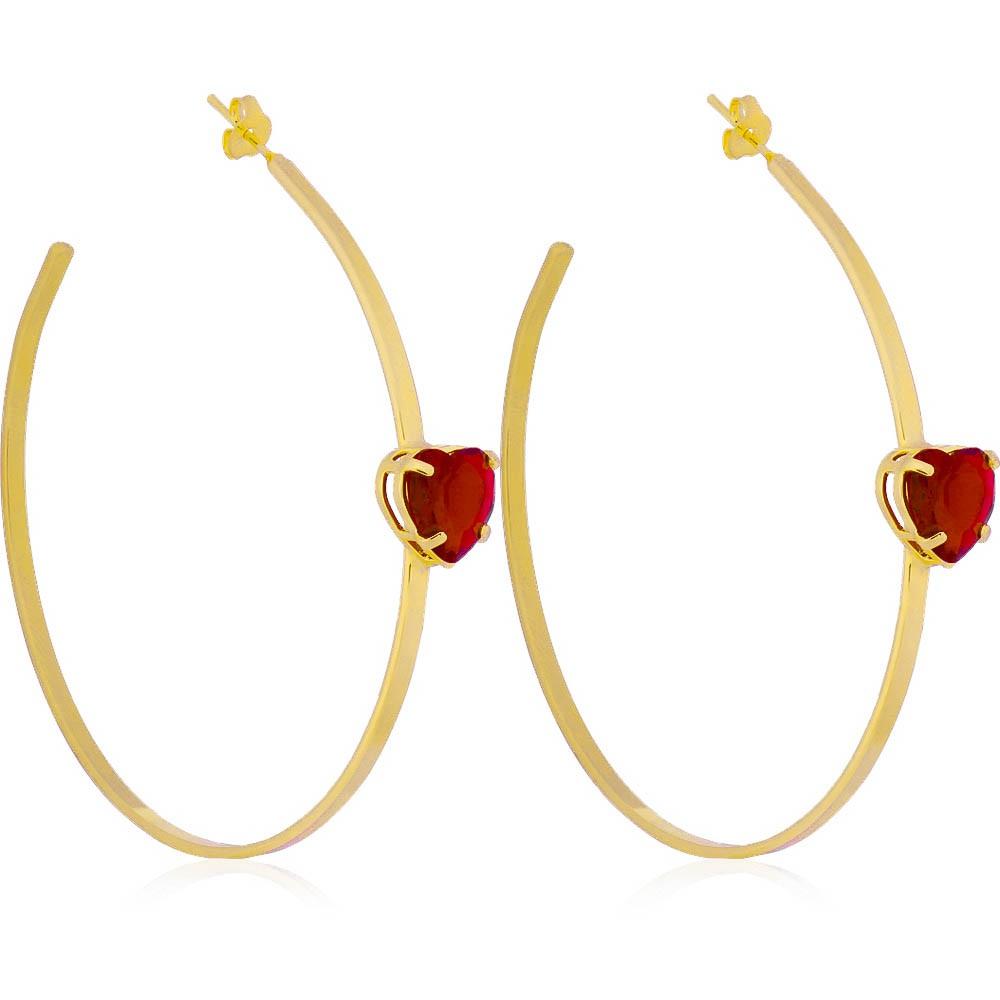 Brinco Argola com Coração Cristal Vermelho Folheado em Ouro 18k - Giro Semijoias