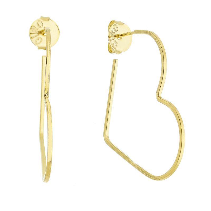 Brinco Argola Coração Ouro 18k- Giro Semijoias
