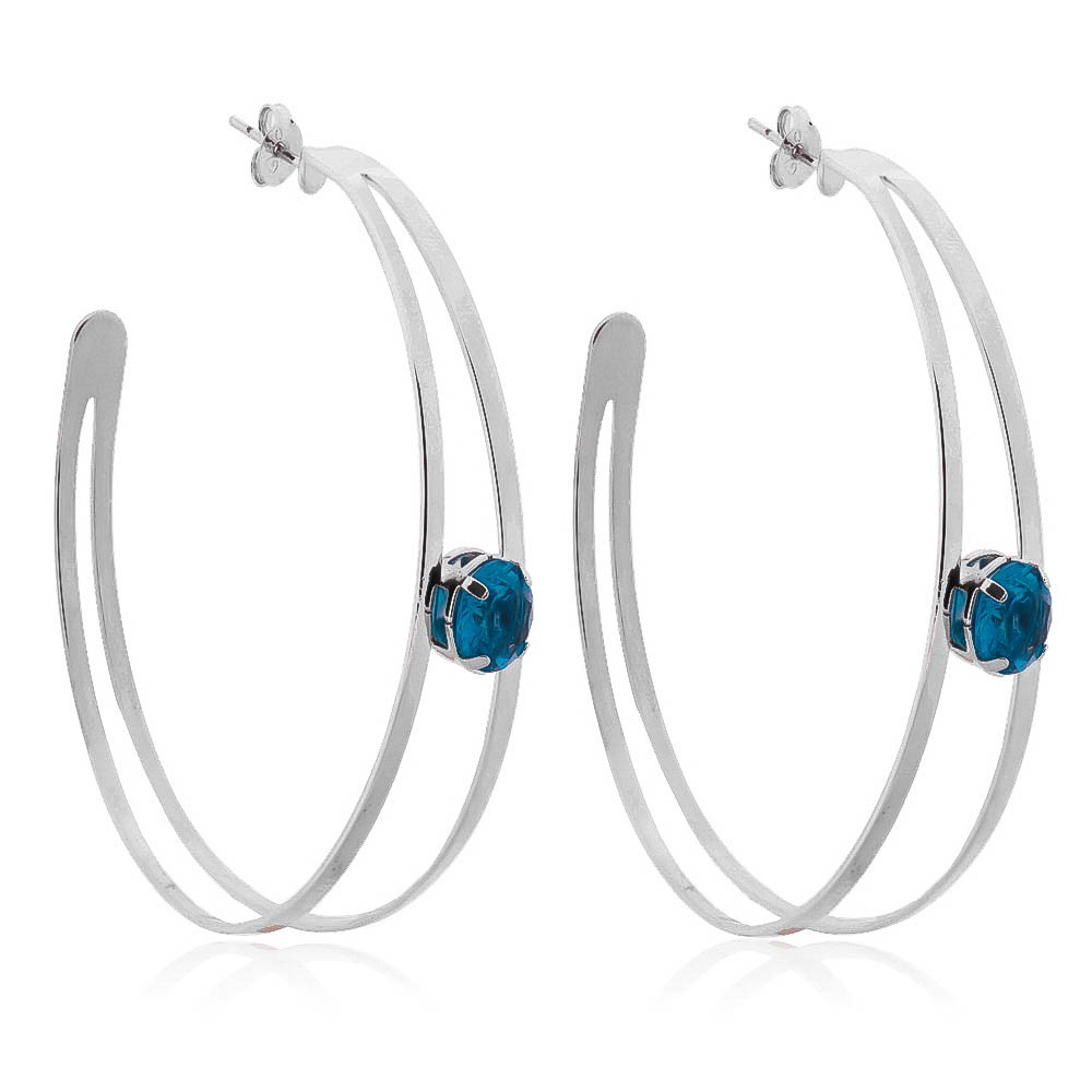 Brinco Argola Dupla com Cristal Azul Ródio Branco - Giro Semijoias