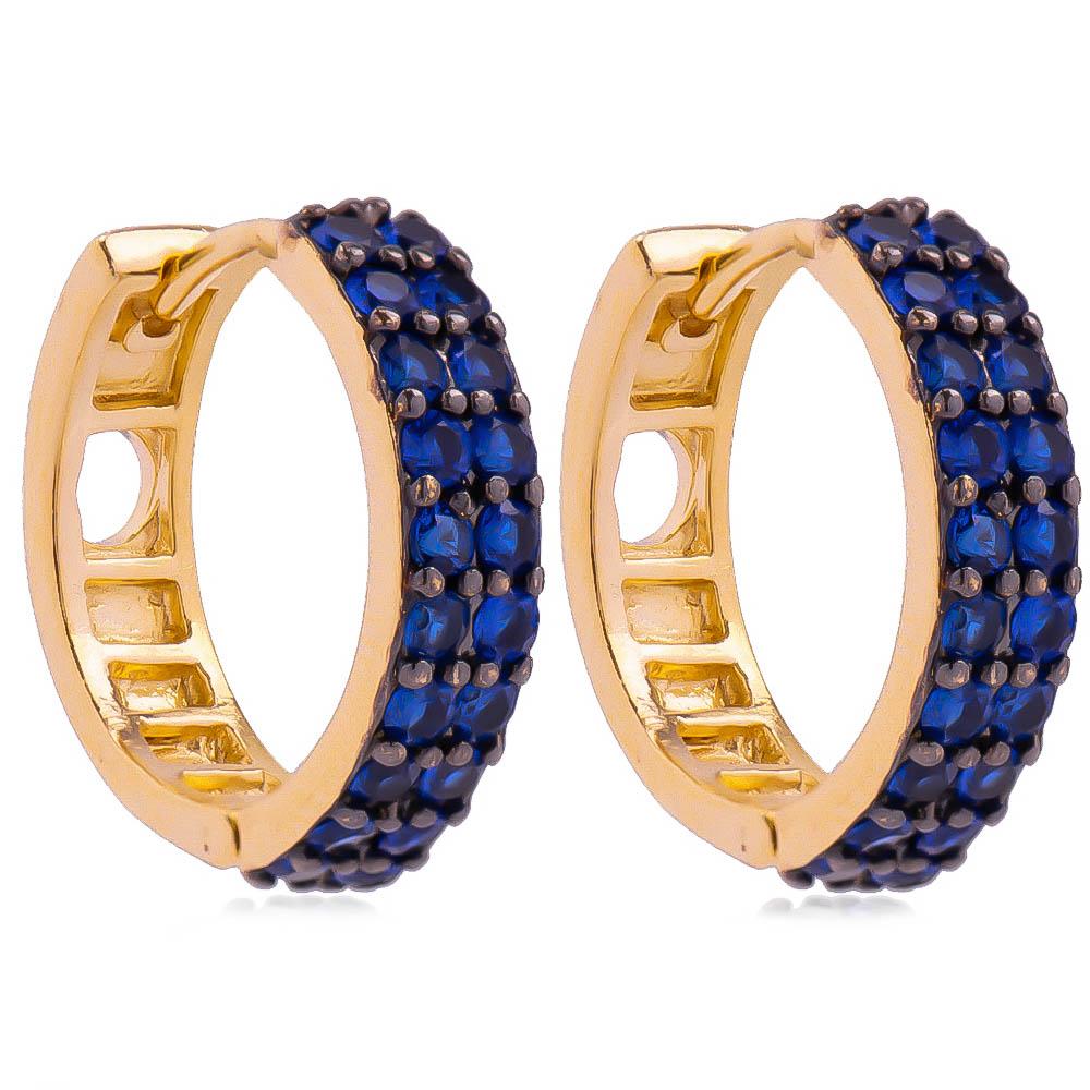 Brinco Argola G 2 Filas de Zircônia Azul Ouro 18k