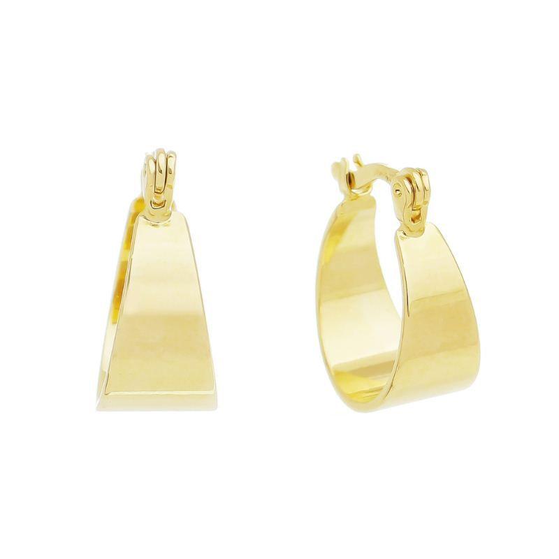 Brinco Argola Lisa Triangular  Ouro 18k- Giro Semijoias