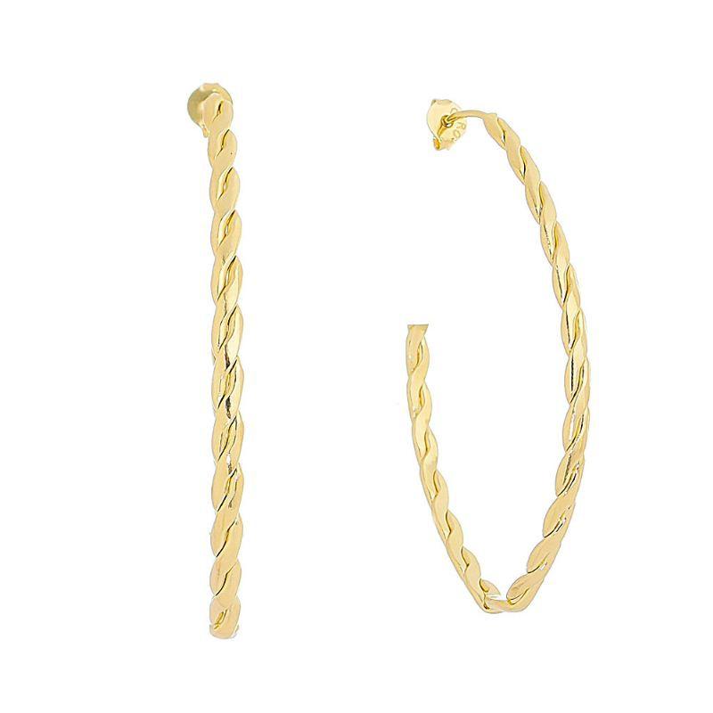 Brinco Argola Oval Torcida Aberta Ouro 18k -Giro Semijoias