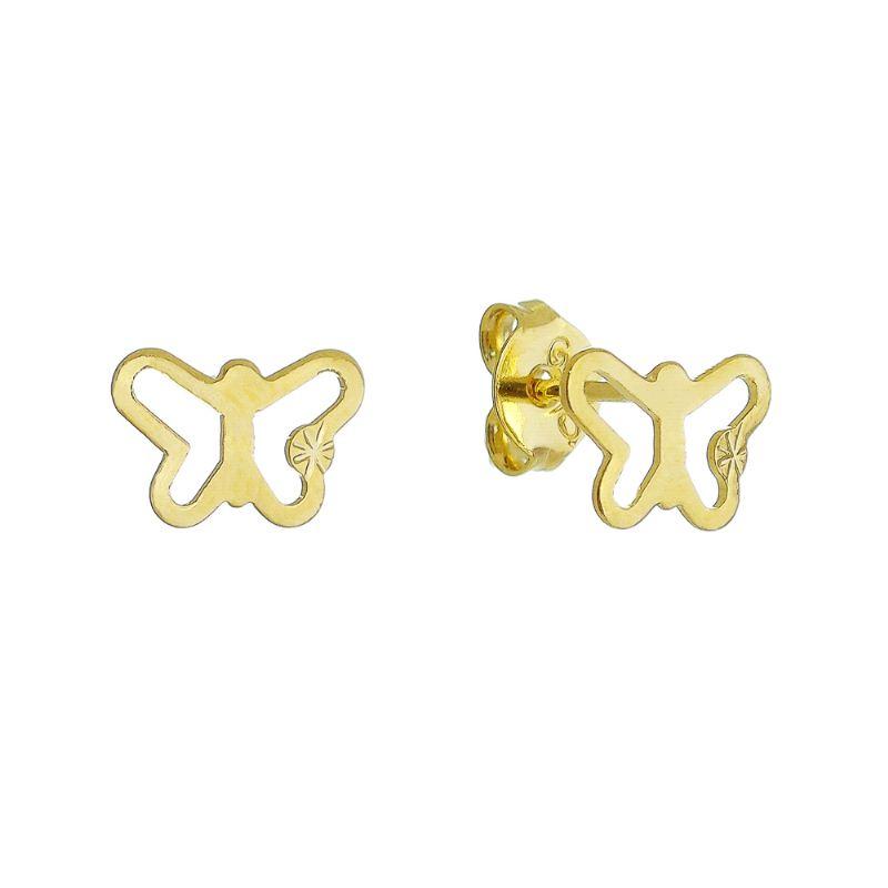 Brinco Borboleta Lisa Vazado Folheado em Ouro 18k