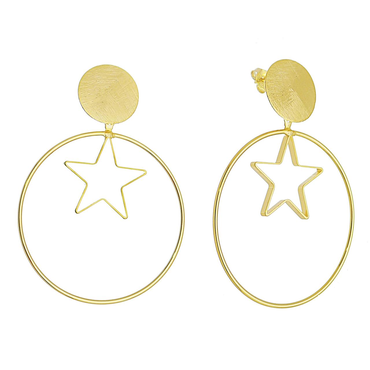 Brinco Círculo C/ Estrela Vazada Ouro 18k