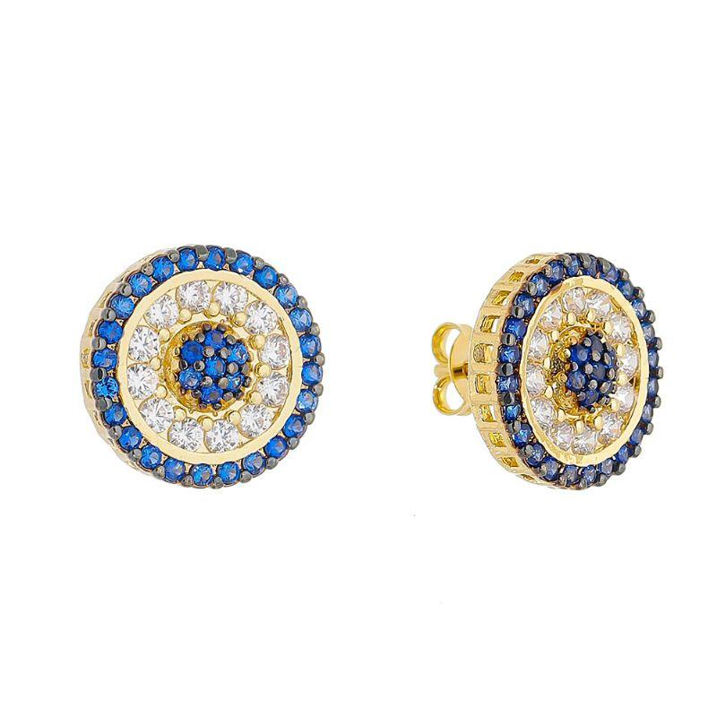 Brinco Círculo Cravejado em Zircônia Azul e Incolor Folheado em Ouro 18k