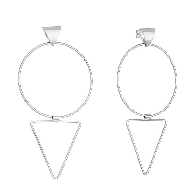 Brinco Círculo e Triângulo Flexível Folheado em Ródio Branco - Giro Semijoias
