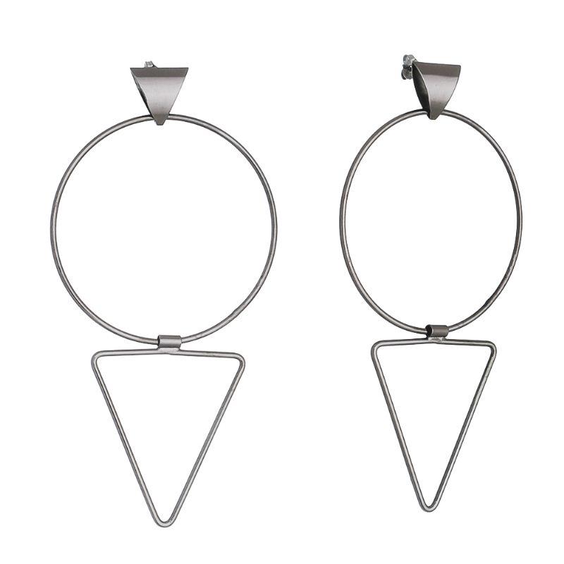 Brinco Círculo e Triângulo Flexível Folheado em Ródio Negro