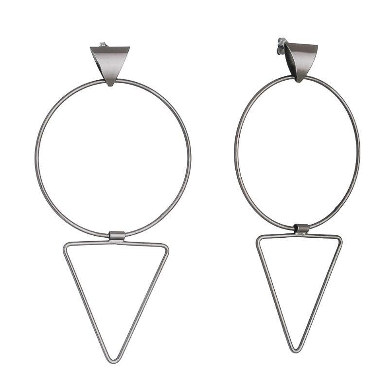 Brinco Círculo e Triângulo Flexível Folheado em Ródio Negro - Giro Semijoias
