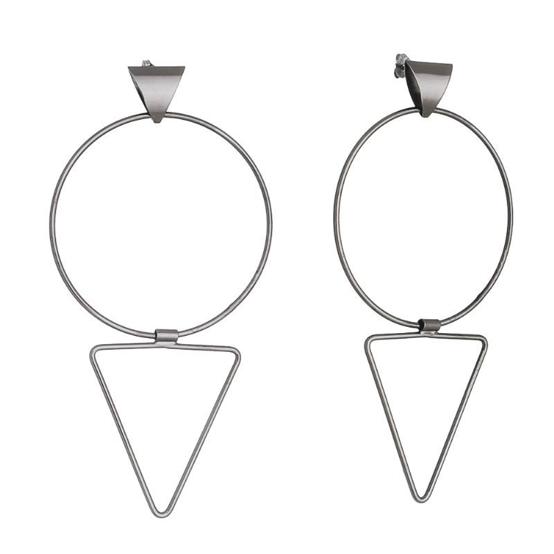 Brinco Círculo e Triângulo Flexível Ródio Negro - Giro Semijoias