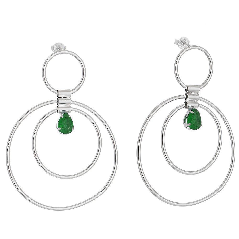Brinco Circulos com Gota em Cristal Verde Folheado em Ródio Branco