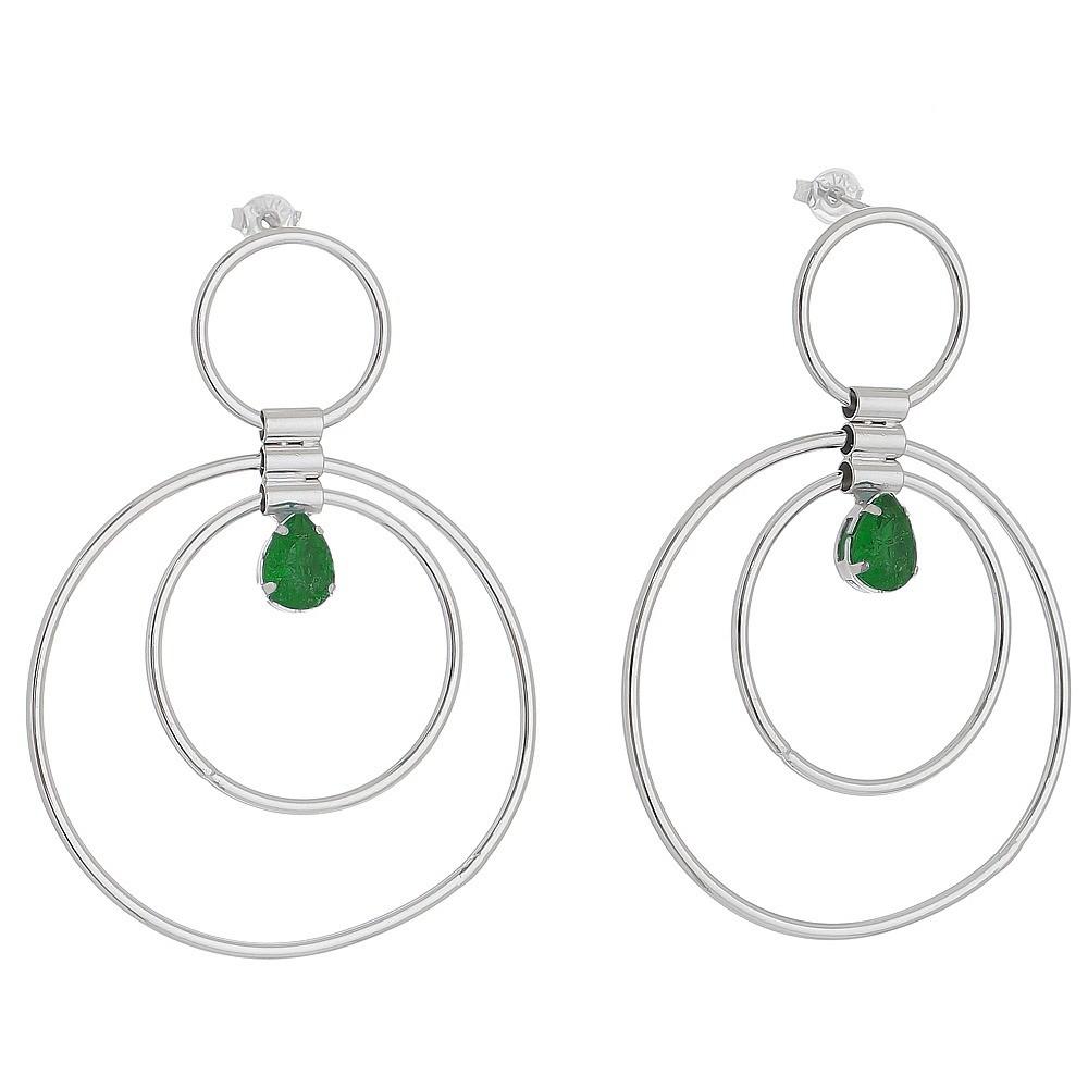 Brinco Circulos com Gota em Cristal Verde Folheado em Ródio Branco - Giro Semijoias