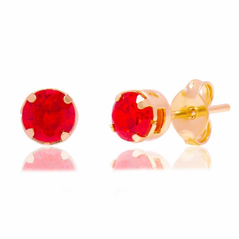Brinco com Pedra em Zircônia Vermelho Folheado em Ouro 18k - Giro Semijoias