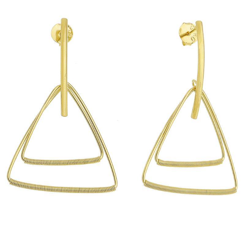Brinco com Pêndulo e Triângulos Folheado em Ouro 18k