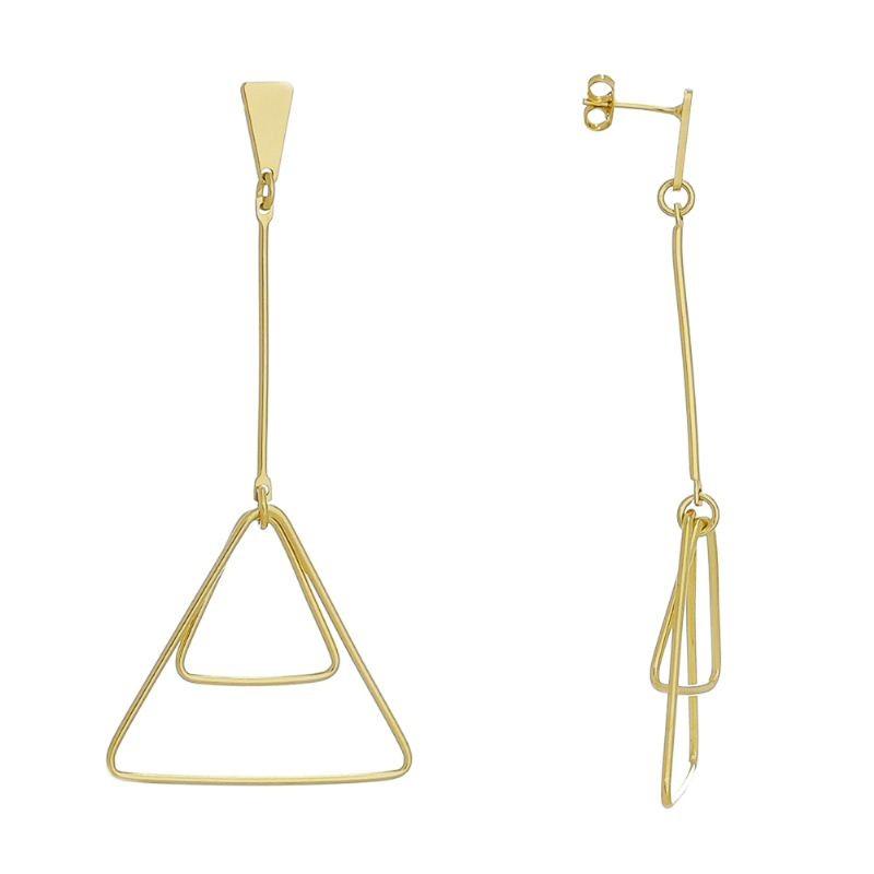 Brinco com Pêndulo e Triângulos Vazados Folheado em Ouro 18k - Giro Semijoias