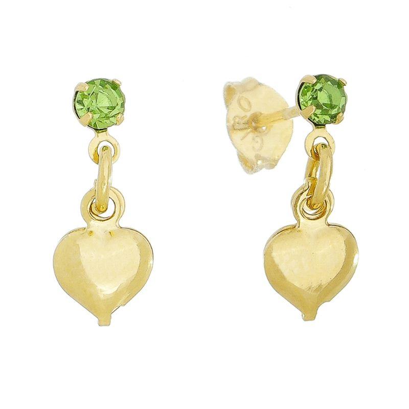 Brinco com Pingente de Coração e Pedra em Zircônia Verde Folheado em Ouro 18k