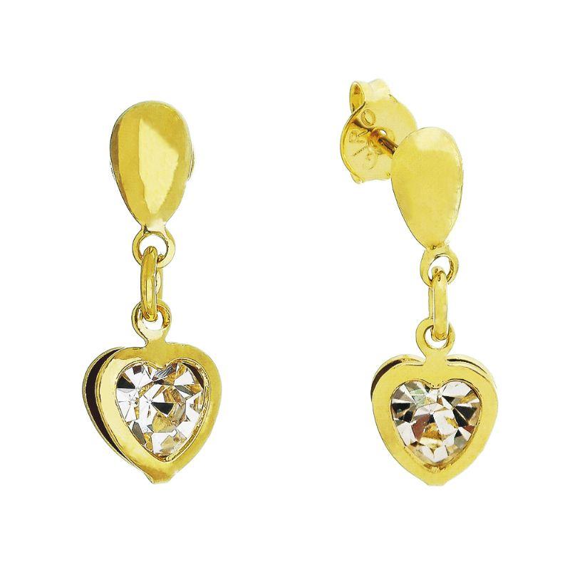 Brinco Coração C/ Zircônia Incolor Pendurado Ouro 18k- Giro Semijoias
