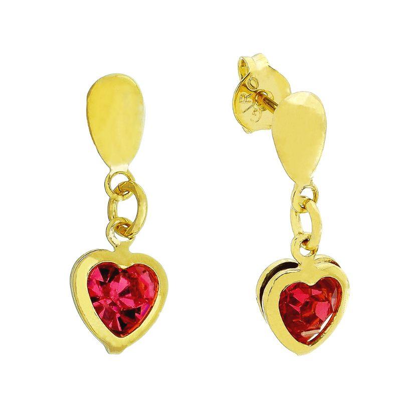 Brinco Coração C/ Zircônia Rosa Pendurado Ouro 18k