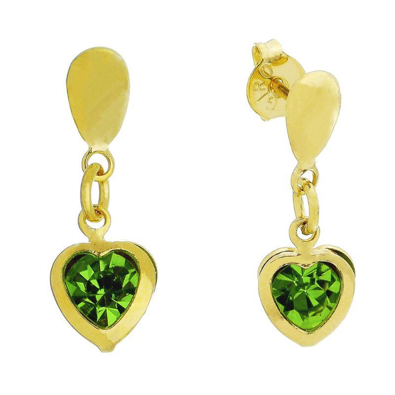 Brinco Coração C/ Zircônia Verde Pendurado Ouro 18k