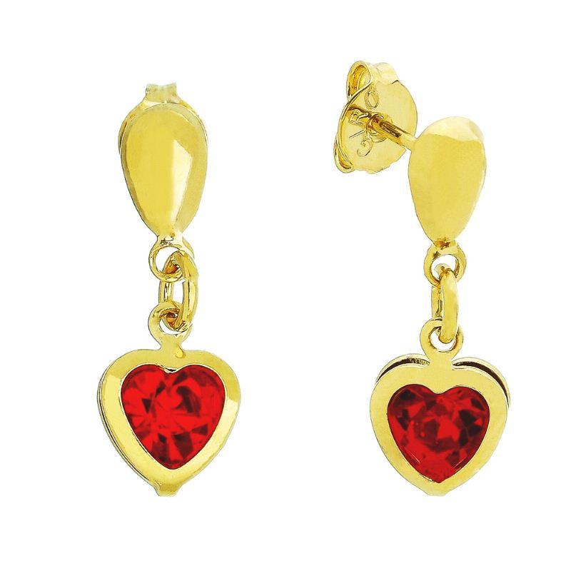 Brinco Coração C/ Zircônia Vermelho Pendurado Ouro 18k