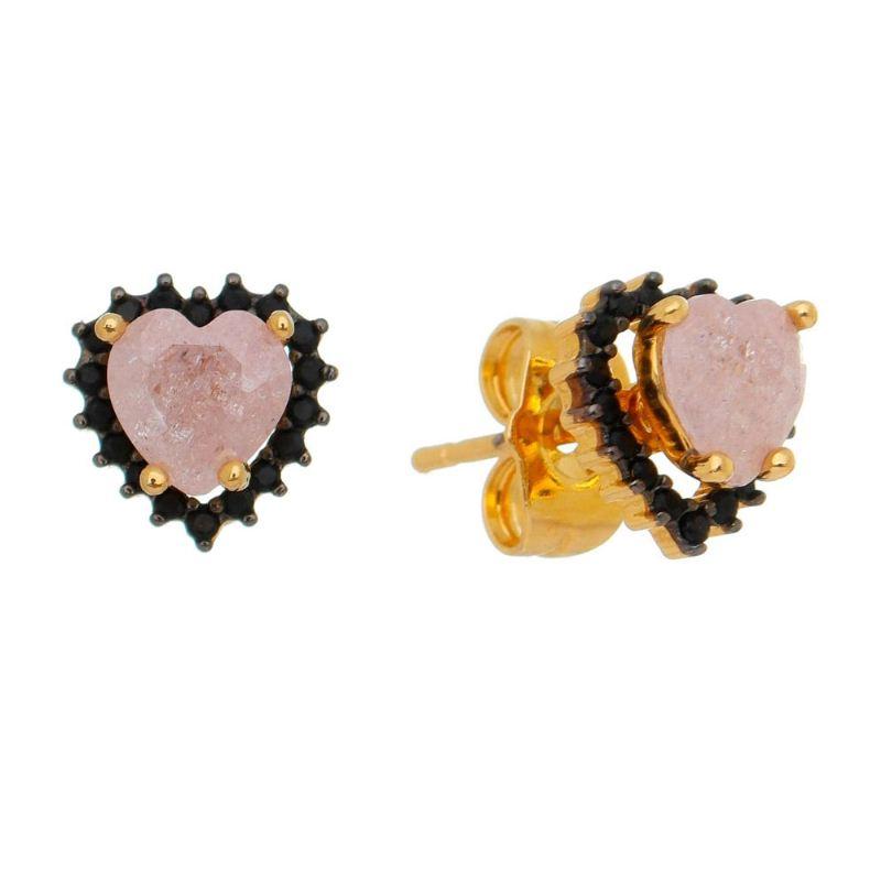 Brinco Coração com Cristal Rosê Zircônia Preta Ouro 18k