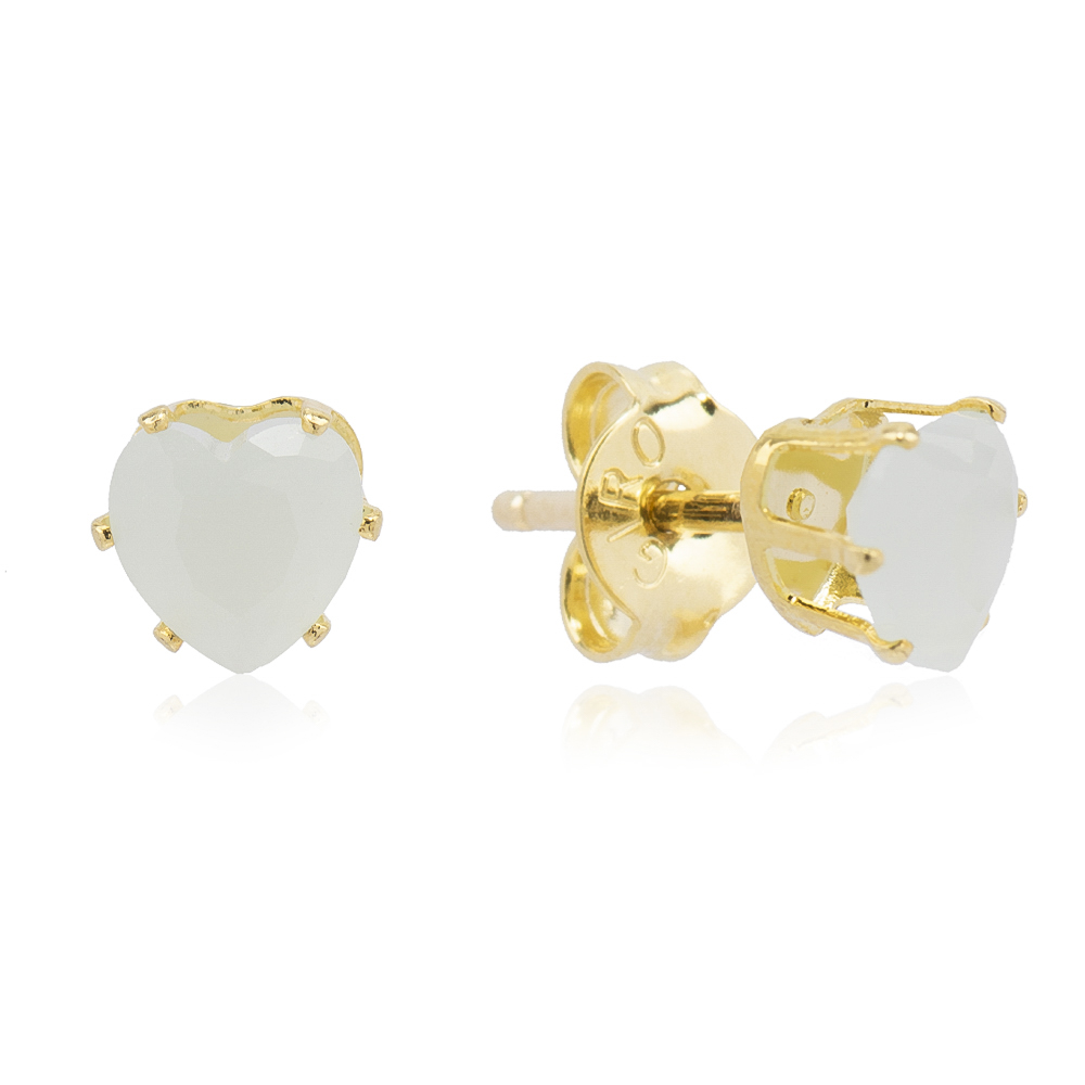 Brinco Coração com Pedra em Cristal Gelo Folheado em Ouro 18k