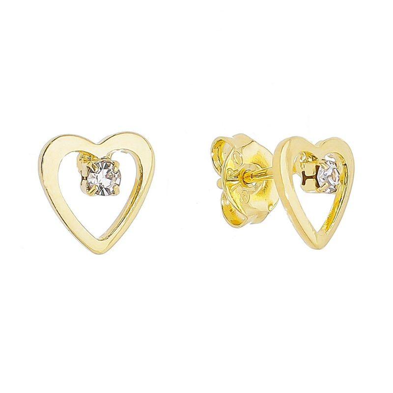 Brinco Coração com Ponto de Luz em Zircônia Folheado em Ouro 18k - Giro Semijoias