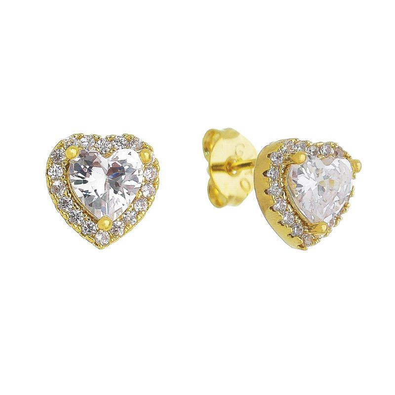 Brinco Coração Cravejado e com Pedra em Zircônia Folheado em Ouro 18k - Giro Semijoias