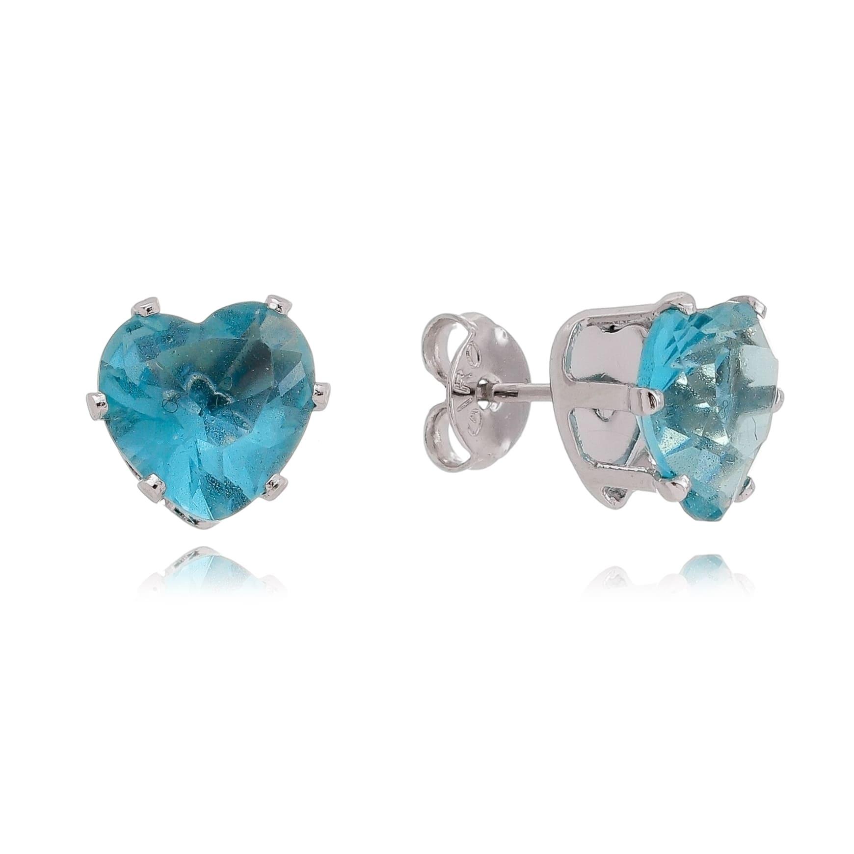 Brinco Coração Cristal Azul Claro Folheado em Ródio Branco - Giro Semijoias