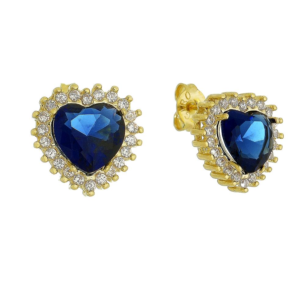 Brinco Coração Cristal Azul Marinho Zircônia Ouro 18k
