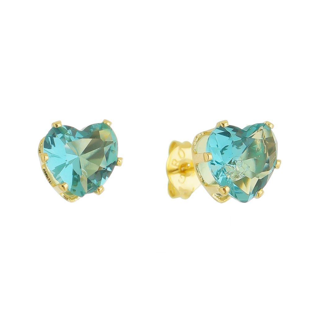 Brinco coração cristal azul Ouro 18k- Giro Semijoias